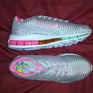 Shoes - Silver and pink tennis shoes